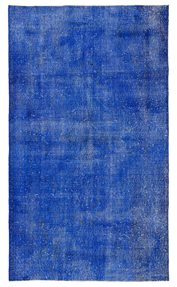 A distressed vintage handmade rug overdyed in blue color, made of low wool pile on cotton foundation, finely hand knotted, professionally cleaned and ready to be used for many more decades. We also wholesale and custom produce rugs, please feel free to contact for any inquiries. Thanks