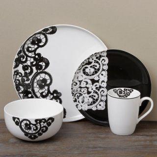 Black White 16 Piece Dinnerware Set Modern Decor Contemporary Kitchen