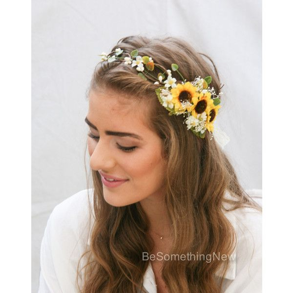 Sunflower Flower Crown with Green Leaves and Babies Breath Wedding... ($115) ❤ liked on Polyvore featuring accessories, hair accessories, flower hair accessories, headband hair accessories, yellow headband, leaf headband and boho headband