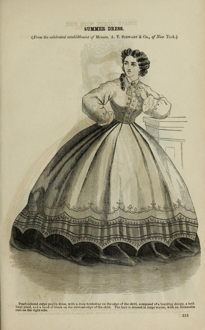 Summer Dress Godey S Magazine 1864 Victorian Era Fashion Lady Civil War Era [ 1126 x 701 Pixel ]