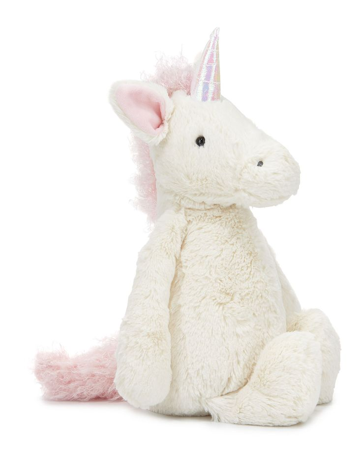 """Jellycat """"Bashful Unicorn"""" plush toy features shimmering horn, squishy hooves, and curly mane/tail. Extra-soft, cuddle-ready with perky ears and rounded belly. Plastic pellet fill keeps animal sitting"""