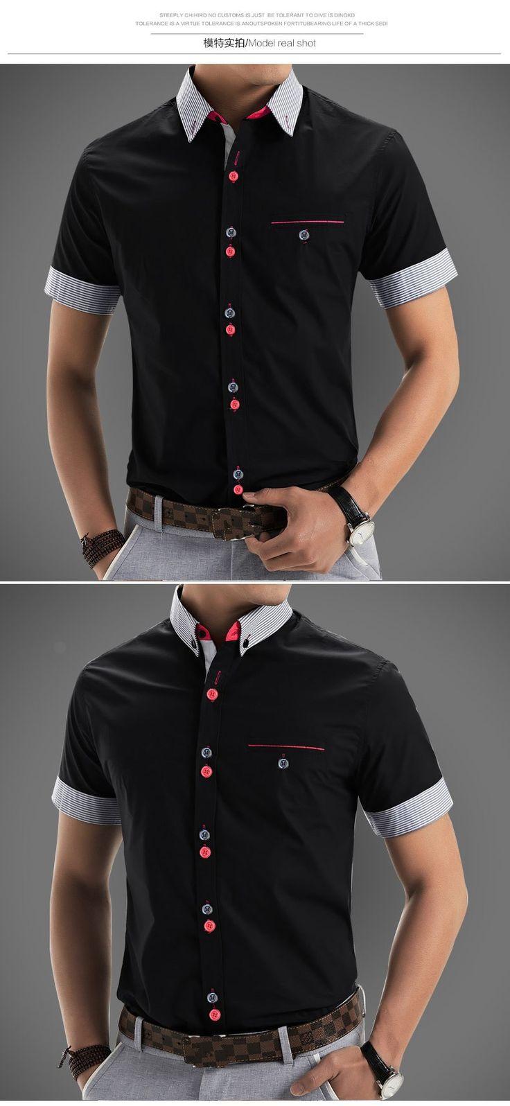 Aliexpress.com: Comprar 2015 hombres de la marca de camisetas manga corta hombres diseñador moda de calidad Patchwork Casual Camisa Slim Fit hombres de camisas sociales de camisa de milán fiable proveedores en  Aliexpress No.1 Fashion Store