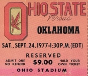 Oklahoma Drink Coasters- 1977 Oklahoma vs. Ohio State football ticket drink coasters. Oklahoma football gifts. http://www.oklahomafootballgifts.com/ The best Oklahoma football ticket gifts in America! #47STRAIGHT