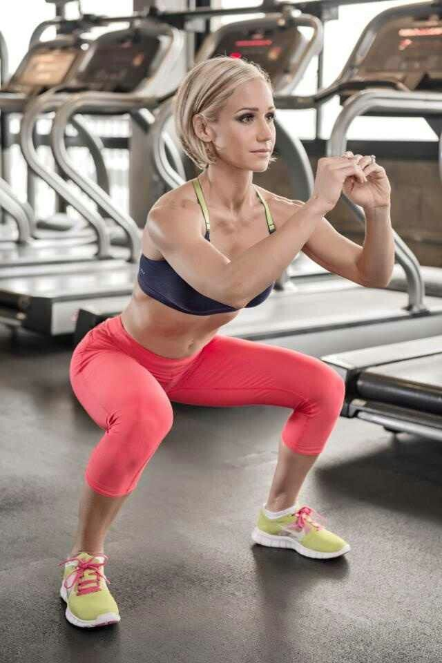Correct squat form - knees behind toes, straight back, legs parallel, head up, tight abs, weight on heels