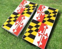 Maryland Flag Cornhole Set With Bags - Cornhole Set - Maryland Cornhole - Cornhole Set - Bean Bag Toss Set - Baggo
