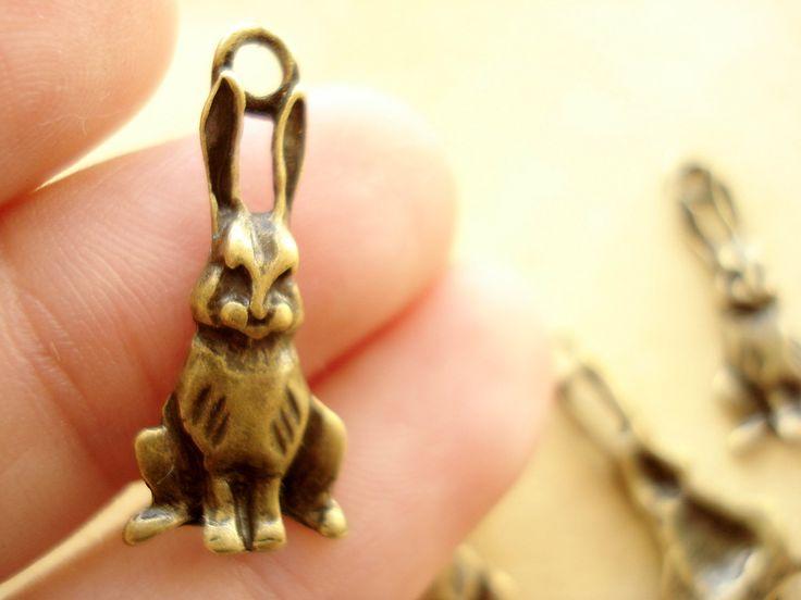 50 Bulk Rabbit Charms Pendant Antiqued Bronze Drops 23x10mm B606 by yooounique on Etsy
