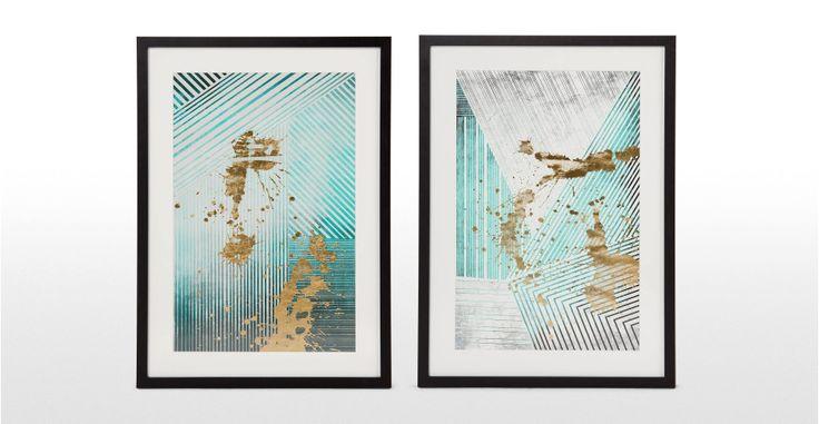 Aurelia Lines ingelijste poster, smaragdgroen en lichtgroen | made.com