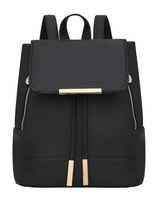 Shop Stylish Zipper Solid Color Sleek Fashion Backpack online at Jollychic,FREE SHIPPING!