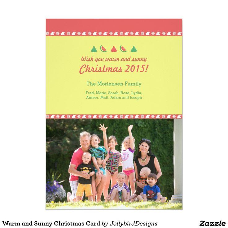 Warm and Sunny Christmas Card #warm #sunny #Christmas #xmas #xmascollection #tropicalfruits #tree #santaclaus #watermelon #orange