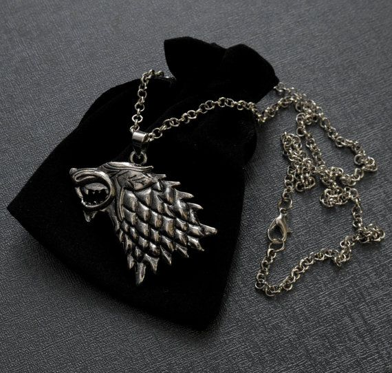 Game of Thrones House of Stark direwolf silver tone necklace