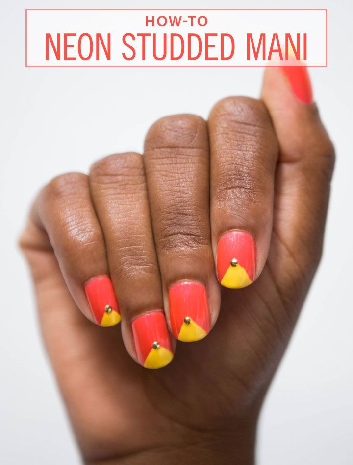 How to Create a Simple Studded Mani - Sally Hansen Bright Neon Nails - Cosmopolitan