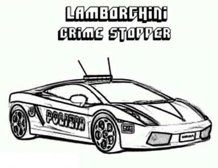 printable coloring sheet of lamborghini crime stopper cop car transportation coloring pages pinterest printable coloring sheets