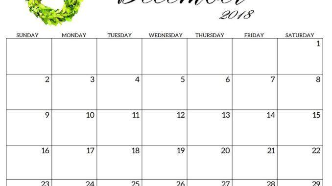 December 2018 Calendar Fillable (4) December 2018 Calendar Free