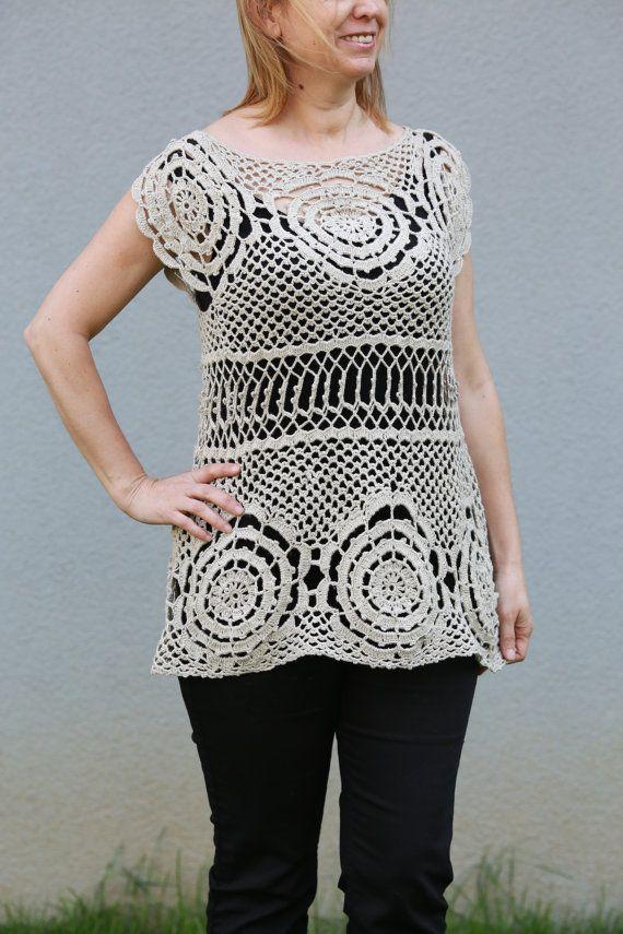 Crocheted Linen Ecru Summer Spring Top, Loose Blouse, Shrug Sweater, Cream Tunic, Ivory Loose Knitwear, Slouchy Beige Shirt , White Crochet
