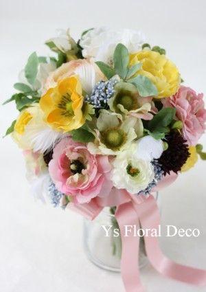 黄色も混じったミックスカラーのブーケ アーティフィシャルフラワー @キャメロットヒルズ ys floral deco