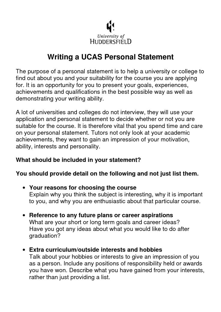 Writing a personal statement for university examples 274546
