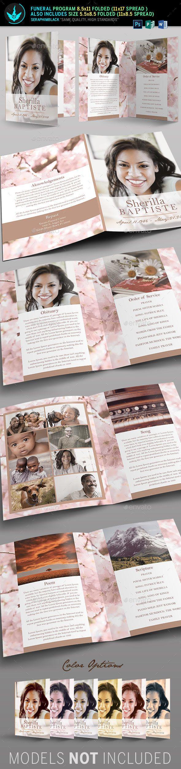 Cherry Funeral Program Template - Informational Brochures