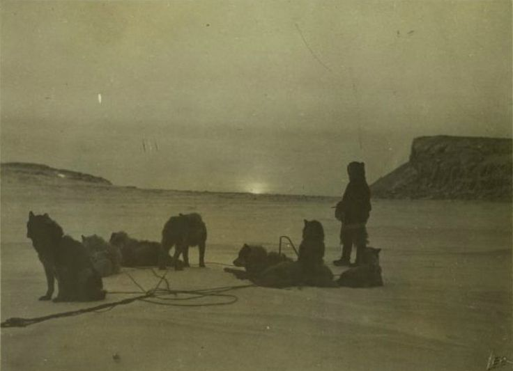 """ Knud Rasmussen, The sun appears for the first time after the winter, Kent Peninsula, 1921 """