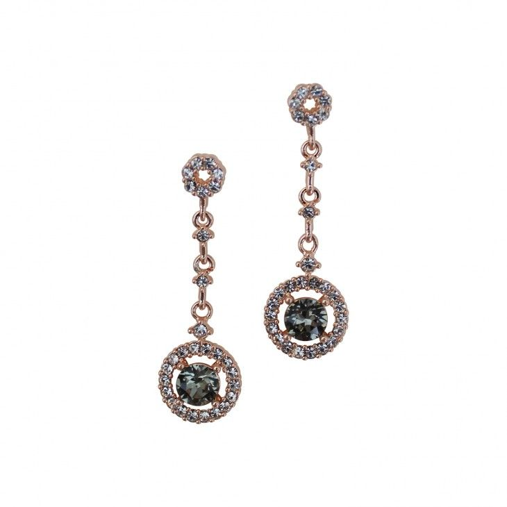 Earrings with white and gray crystals Miranda Black Diamond earrings by Lily and Rose.   Information      Earrings with white and gray crystals of various sizes.    Length: 34 mm   Width: 10 mm    Crystals:   1.4 mm Crystal (Oktant, Austria)    5.3 mm Black Diamond (Swarovski, Austria)