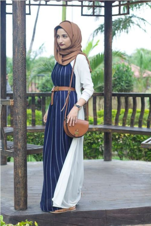 Striped navy dress with long cardigan-How to renew your style with hijab – Just Trendy Girls