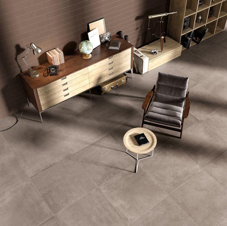 Living con piastrelle in gres porcellanato effetto cemento. Collezione Carnaby:  http://www.supergres.com/your-home/pavimenti/item/571-carnaby  #gres #EffettoCemento #ConcreteLook #CeramicsOfItlay