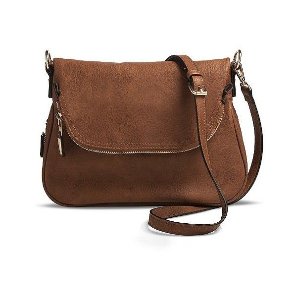 Women's Zipper Flap Crossbody Handbag - Brown ($40) ❤ liked on Polyvore featuring bags, handbags, shoulder bags, brown, flap shoulder bag, brown cross body handbags, brown crossbody purse, zipper shoulder bag and moda luxe handbags