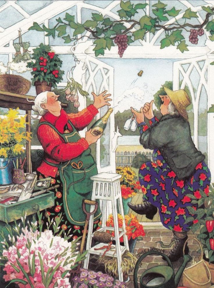 Postcard by Inge Löök, old ladies,