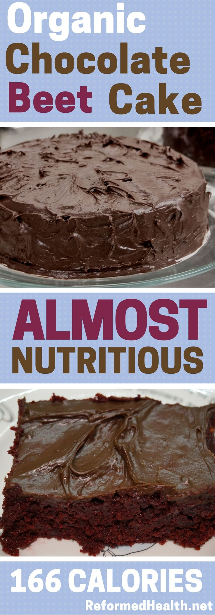 Sometimes you just need chocolate cake. This recipe is definitely delicious -- with all the pleasure of chocolate cake -- but with a nutritious spin: organic and with added beets. Recipe has cost/calorie analysis.