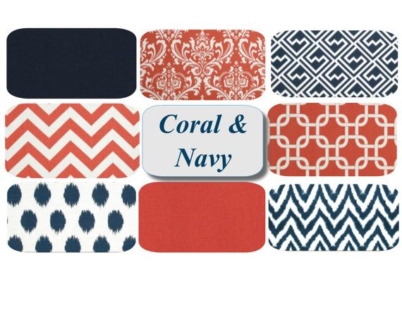 Mix  Match Coral  Navy Throw Pillow Covers! Pick your favorites! Set of Two Coral Navy Pillows by mizzeztee, $36.00