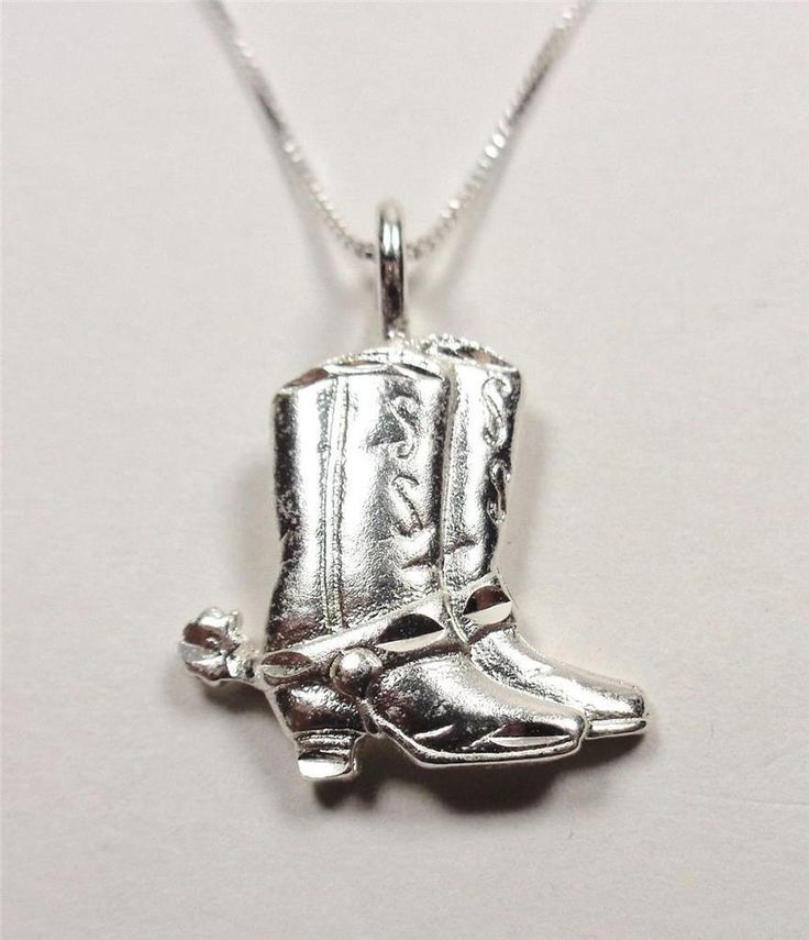 STERLING SILVER COUNTRY WESTERN COWGIRL COWBOY BOOTS AND SPURS PENDANT NECKLACE  | eBay