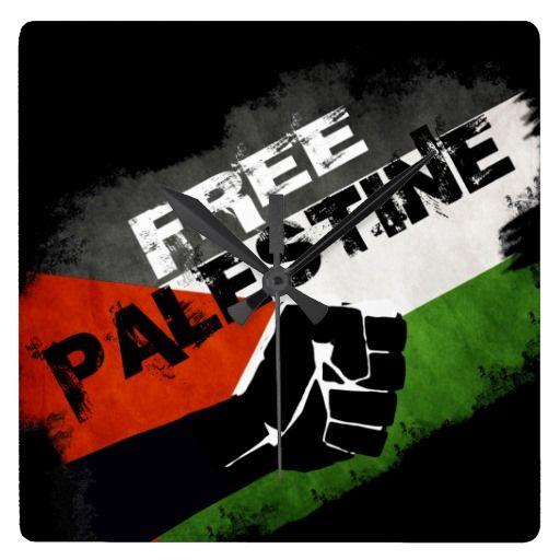 Free Palestine Square Wallclocks