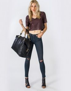 High waist skinny jeans with cut outs