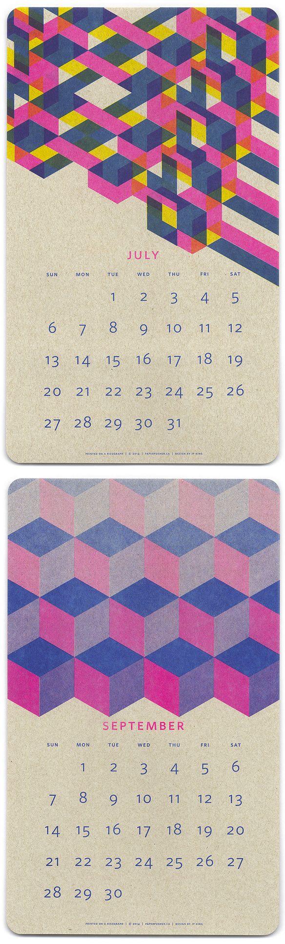 jp king - risograph print calendar, via The Jealous Curator (www.thejealouscurator.com/blog)