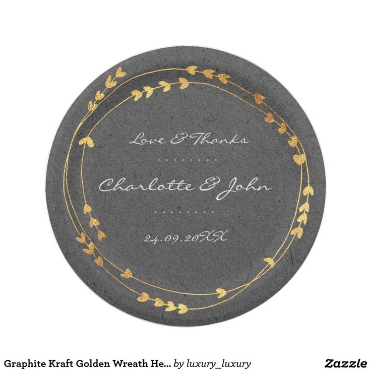 Graphite Kraft Golden Wreath Heart Wedding 7 Inch Paper Plate  sc 1 st  Pinterest & 12 best Kraft Paper Golden Silver Foil Personalised Event Plate ...