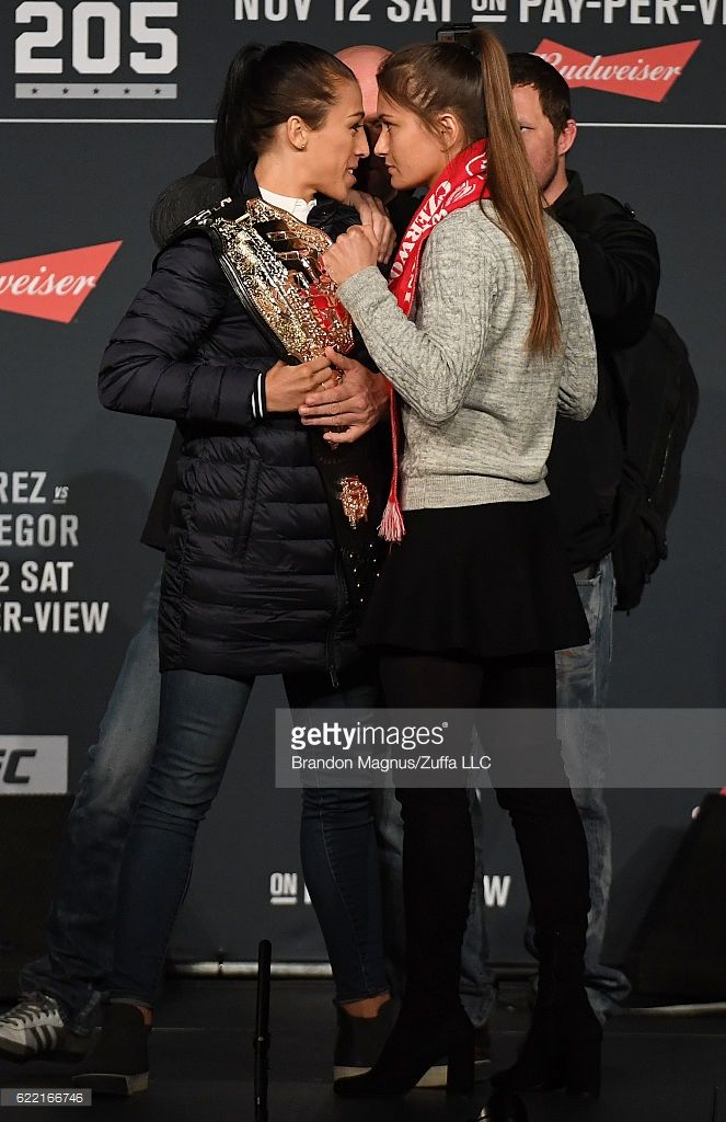Opponents Joanna Jedrzejczyk of Poland and Karolina Kowalkiewicz of Poland face off during the UFC 205 press conference inside The Theater at Madison Square Garden on November 10, 2016 in New York City.
