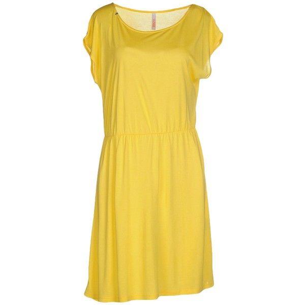 Sun 68 Short Dress ($42) ❤ liked on Polyvore featuring dresses, yellow, short sleeve jersey dress, short-sleeve dresses, modal dress, yellow mini dress and short dresses