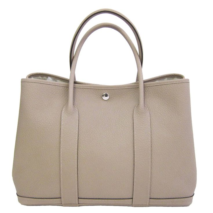 hermes beige leather handbag garden party