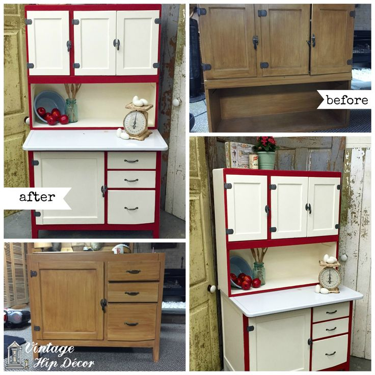 A Vintage Hoosier Cabinet Makeover. Custom Furniture Renewal Available In  Newton, NJ. Kitchen HutchRed ...