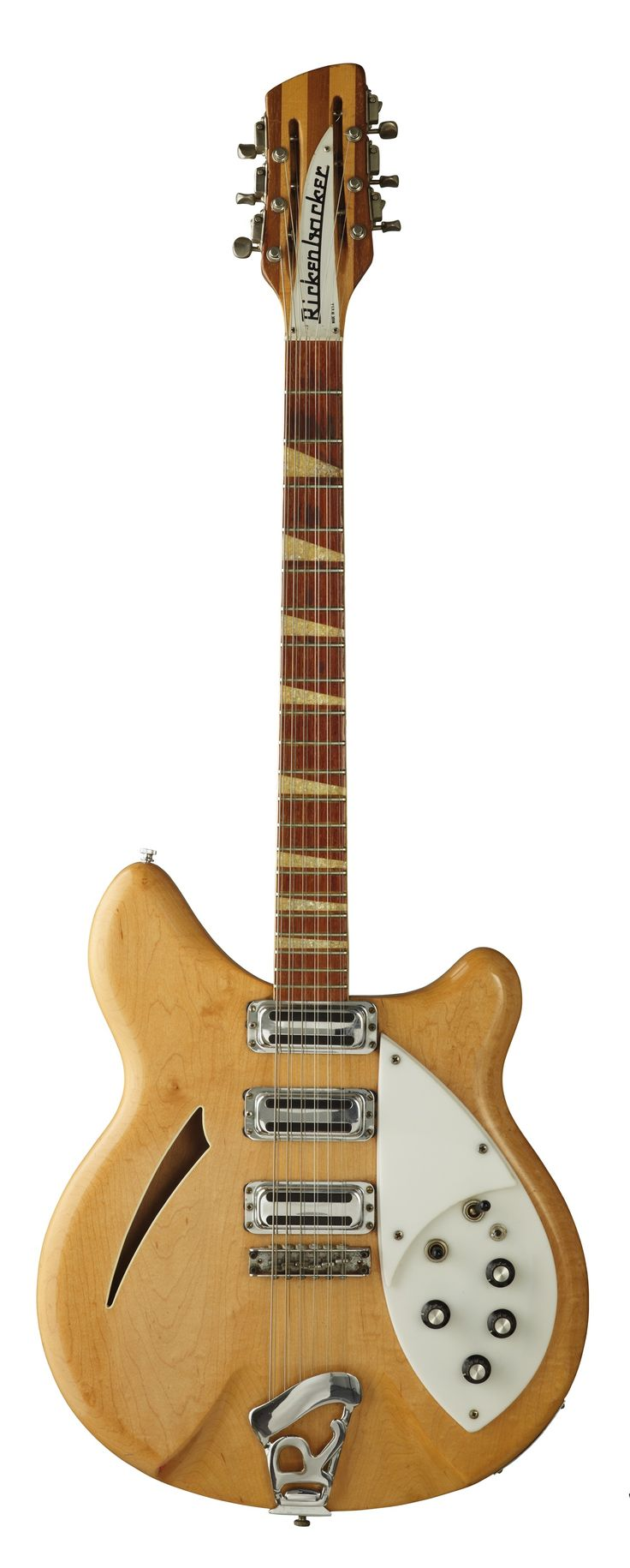 Rickenbacker 360-12 1964 Roger McGuinn, The Byrds. This guitar was stolen in 1966 at a Byrds concert at Fordham University in New York and didn't resurface again until the statute of limitations expired. McGuinn immediately ordered another 370-12 in Mapleglo (Rickenbacker's name for natural finish)