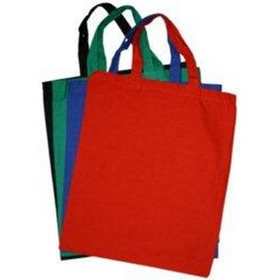 Promo Calico Bag Coloured Short Handle Min 100 - Promotional Giveaways - Tradeshow Bags - CC-BCC71 - Best Value Promotional items including Promotional Merchandise, Printed T shirts, Promotional Mugs, Promotional Clothing and Corporate Gifts from PROMOSXCHAGE - Melbourne, Sydney, Brisbane - Call 1800 PROMOS (776 667)