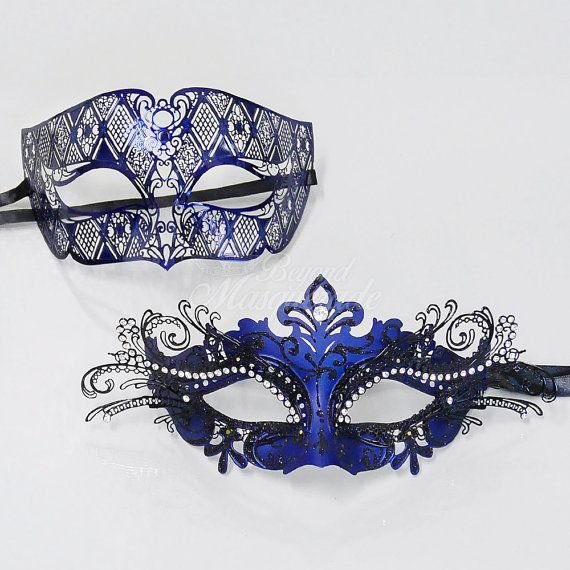 His & Hers Couples Masquerade Mask Set, Royal Blue Metal Masquerade Masks for Couples, Masquerade Ball Mask, Halloween Costume Mask