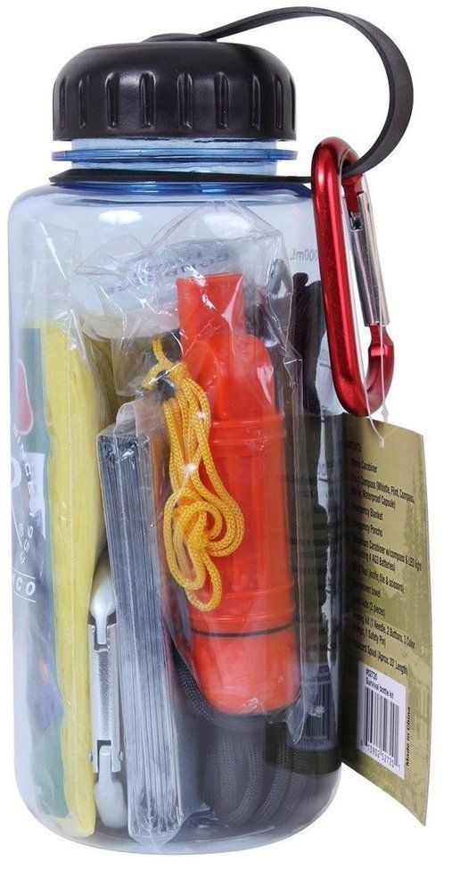 Water Bottle Survival Kit 11-Piece Emergency Camp & Prepper Kit.