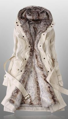 Beige parka- Someone get this for me please! Its gorgeous and it looks so warm and comfy!