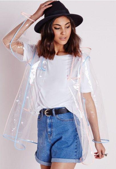 Imperméable transparent à capuche bordures pastel - Vestes et manteaux - Missguided