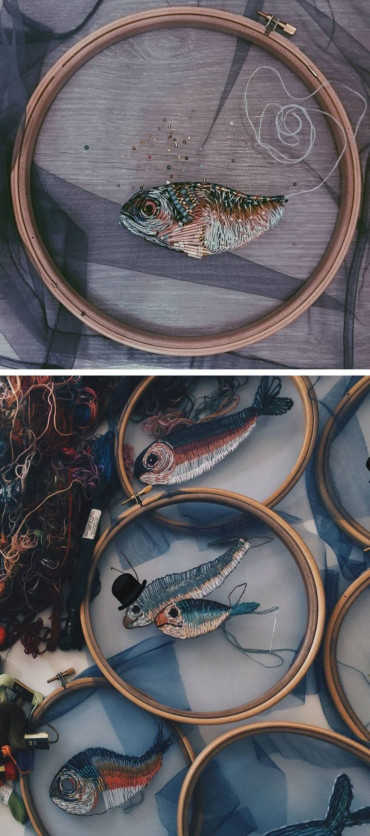 wonder if this would work for needle felting.  Fish embroidery on tulle // hoop art // optical illusion embroidery