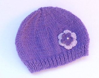 Chapeau de bébé fille main tricot bonnet rose par MyfanwysMakes