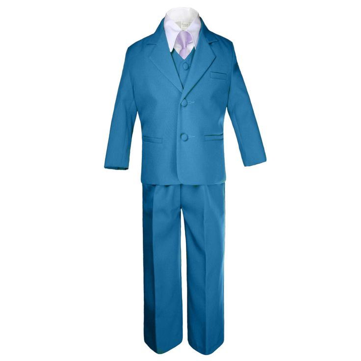 LEADERTUX Leadertux 6pc 5 6 7 8 10 12 14 16 18 20 Kid Teen Boys Teal Suits Tuxedo Formal Wedding Party Outfits Extra Lilac Necktie Set - Kids - Kids' Clothing - Boys' Clothing - Boys' Suits & Dresswear - Boys' Suits