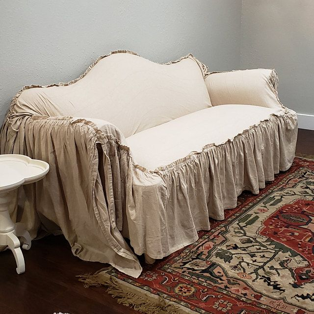 Slipcover Ruffled Slipcover Sofa Cover Sofa Scarf Slip Cover Couch Cover Farmhouse Decor Shabby Chic Sofa Cottage With Images Shabby Chic Sofa Slipcovered Sofa Sofa Covers
