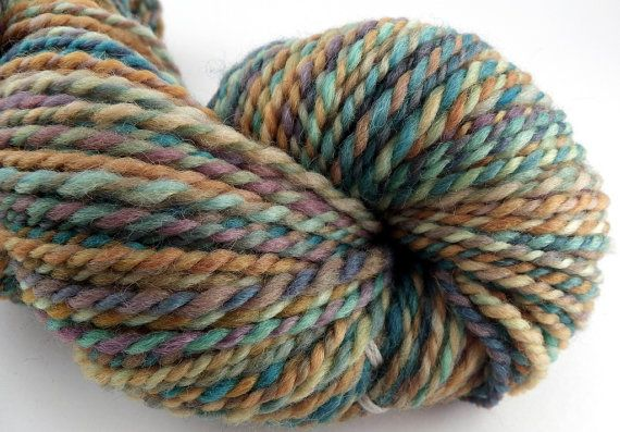 Handspun Yarn  100 Falkland Wool  2 Ply Yarn  Fall by KnittersNook, $25.00