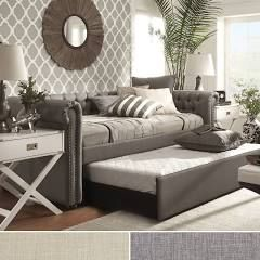 Signal Hills Daybed with Trundle Pull Out Bed Couch Twin Tufted Linen Lounge Sofa Furniture